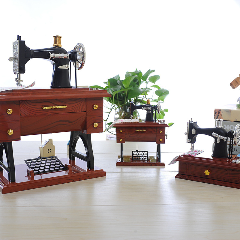 복고풍 음악 상자 빈티지 자물쇠 재봉틀 모델 음악 - 가정 장식 - 사진 2