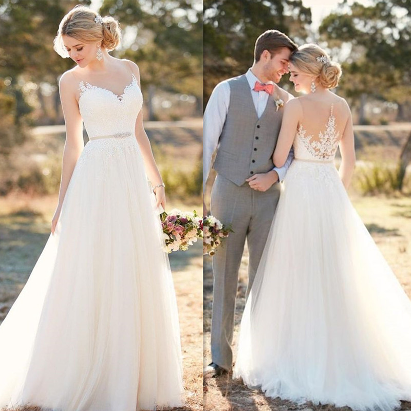 Scoop Tulle Neckline Sleeveless A-line Lace Applique Wedding Dress With Beading Belt Sweep Train Illusion Back  Bridal Dress