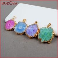 BOROSA Free Shipping Gold Color Rainbow Solar Quartz Pendant Beads Sun Flower Natural Quartz Gems Jewelry 245