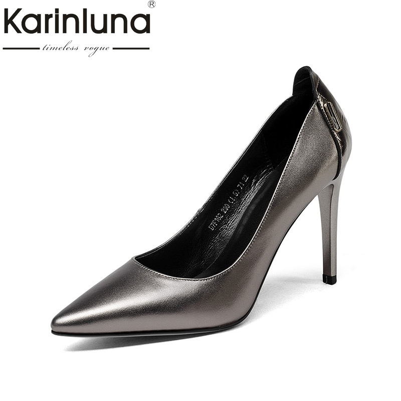 KarinLuna 2018 Spring Autumn Hot Sale Sexy Women Shallow Pumps Genuine Leather High Heels slip-on Ol Shoes Woman Size 33-39 2016 new pumps ol style thick high heels women shoes with bowtie pu leather shoes woman for spring 3 colors size 35 39 xwd717