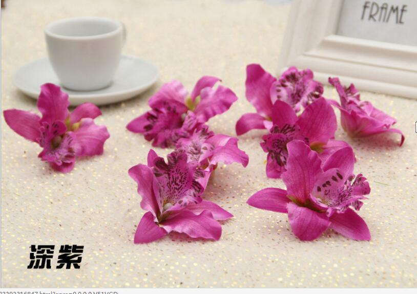 50842e78e5d 20pcs Silk Moth Orchid Flower Girls Head Flower Decorative Flowers    Wreaths Accessories -in Artificial   Dried Flowers from Home   Garden on  Aliexpress.com ...