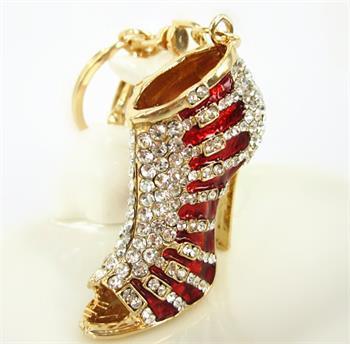Red shoe high heel Charm Pendant Crystal Rhinestone beautiful bag purse Keyring  chain beautiful gift for elegant women 8ab9ad289375