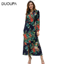 DUOUPA  Vintage Long Dress Women Spring 2019 Fashion Casual Boho Evening Shirt Elegant Loose Maxi Party Dresses Vestidos