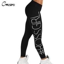 Cwlsp узкие Высокая Талия Леггинсы Для женщин Boss леггинсы для спортивной эластичный Штаны Pantalon Moda фитнес feminino QA1649