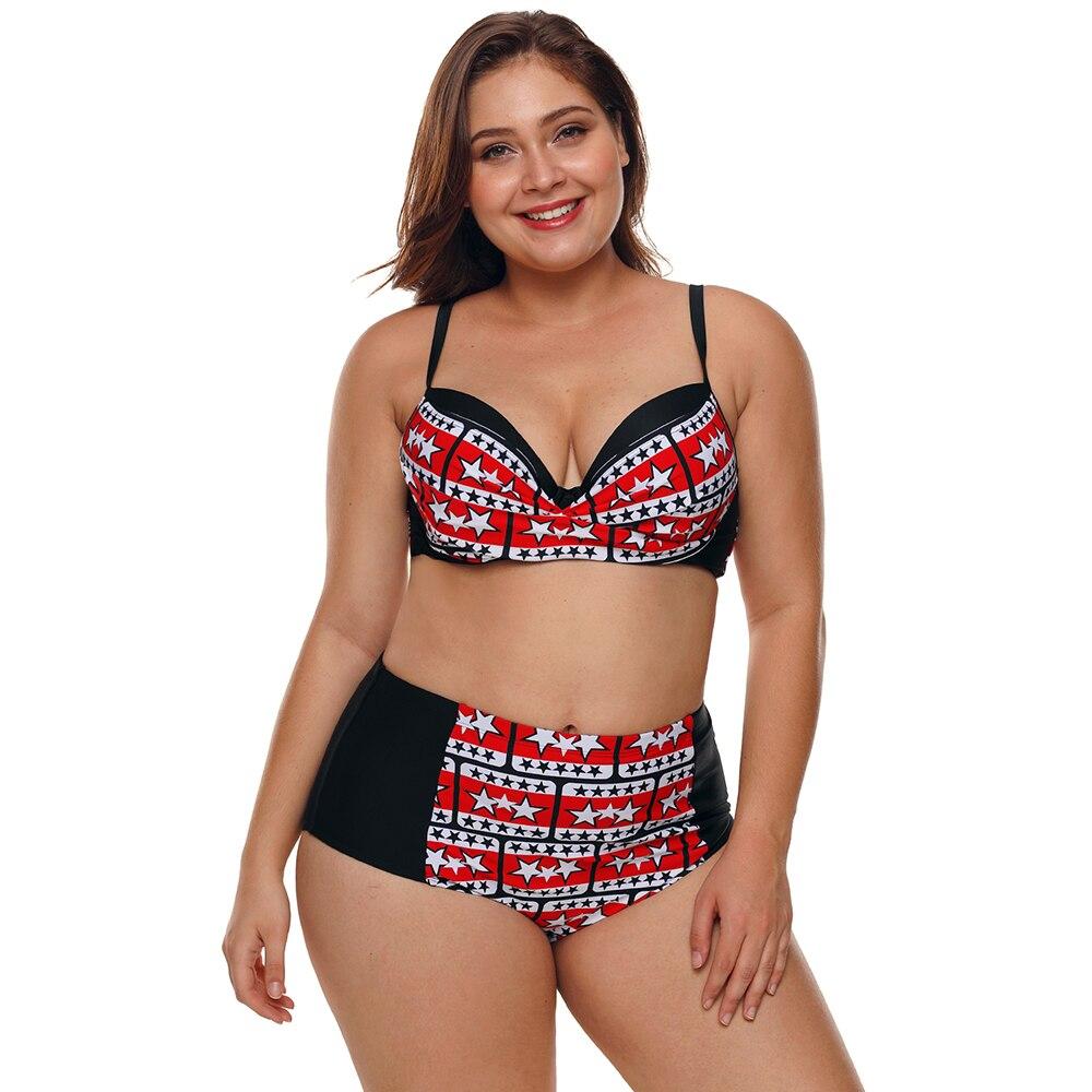 Drücken Drucken Hohe Taille Badeanzug Xl Xxl Xxxl 4xl Frauen Strand Body Retro Beachwear Plus Größe Bikini Swimwear Padded Frauen Kleidung & Zubehör