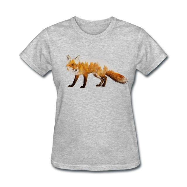 Modernização fox Gril Algodão Mangas Curtas Em Torno Do Pescoço T Shirts Mulher Natural divertido camisas