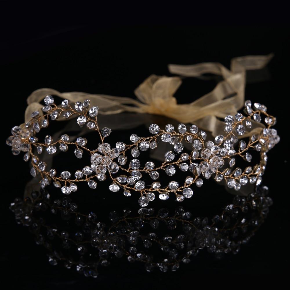 Recién Llegado de Hecho A Mano Tiara Hairband Cristalino de Oro de Novia de la B