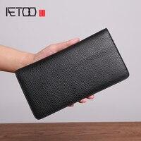 BJYL Wallet male leather long large wallet fashion casual men's head cowhide handbag