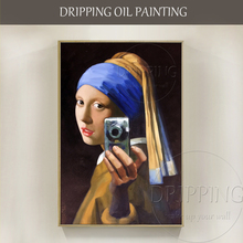 Funny Design Hand-painted High Quality Selfie Portrait Oil Painting Customize for Friend Gift