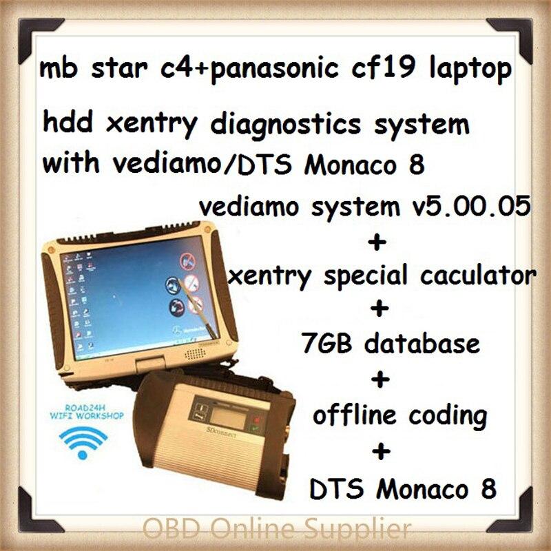 Цена за CF19 + mb star C4 SD Connect + vediamo/DTS HDD Xentry диагностики Системы компактный 4 Mercedes диагноз мультиплексор для benz диагностировать