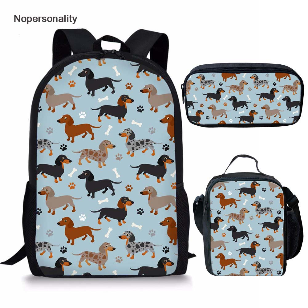 Dachshund Print Backpack Set For Kids and Girls