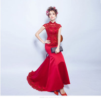 Wine Red Sexy Lace Bride Tailing Wedding Qipao Long Cheongsam Modern Chinese Dress Traditional Vestido Oriental