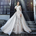 Sexy 2017 Wedding Dresses Turkey Scoop Mermaid Appliqued Tulle Bridal Gown with Removable Train Open Back Vestido de Novia MI02