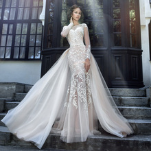 Sexy 2017 Wedding Dresses Turkey Scoop Mermaid Appliqued Tulle Bridal Gown with Removable Train Open Back