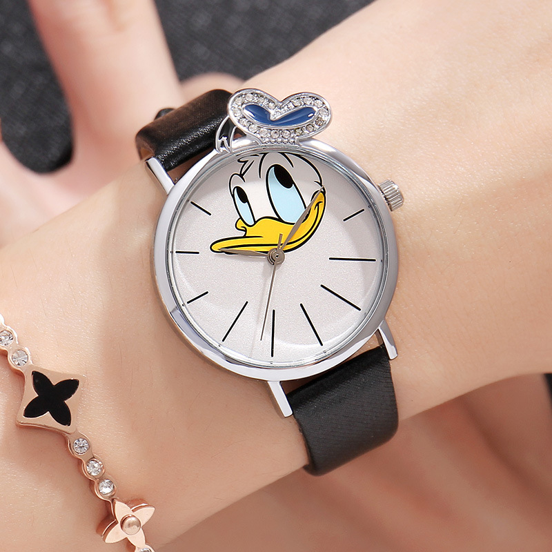 Women Watches Disney Donald Duck Cute Fashion Watch for Woman bayan kol saati Leather Quartz Ladies Watches hodinky women Clock cartoon gold horse print blue leather strap sports ladies quartz watch relojes hombre 2017 bayan saat women watches hodinky b133