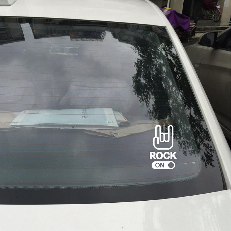 ROCK ON Car Sticker Hand Sign Hard Rock Music Decor vinyl car Decals
