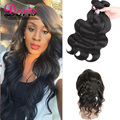 Top 8A Malaysian Virgin Hair Lace Frontal Body Wave 360 Lace Frontal with Bundle Cheap Lace Frontal Weave Pre Plucked Frontal