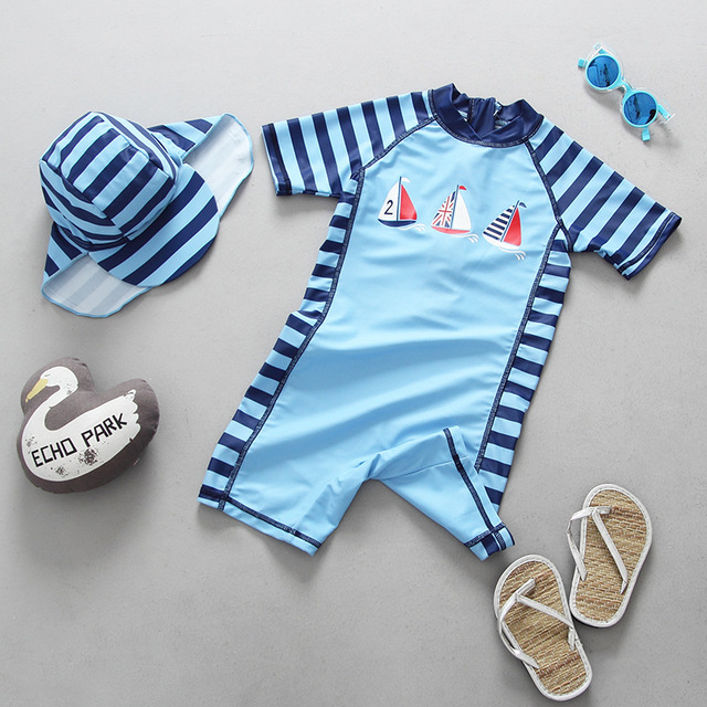 bbb2dfec1f Kids baby Swimwear Sailboat Swimsuit Infant Baby boys Bathing Suit UV  Prodection Swimming Pool Clothes Surfing Suit Surf Wear