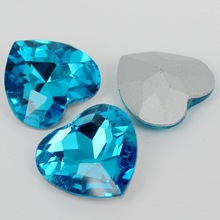 Аквамарин Цвет сердце с украшением в виде кристаллов с острым задняя стеклянный модный камень beads.10mm 12 мм 18 мм 23 мм