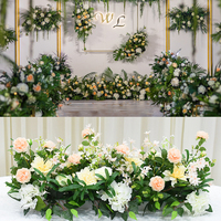 Flone Artificial Silk Rose Flowers row Wedding home party Backdrop Wall Road Lead Decoration Festive Anniversary Decor floral