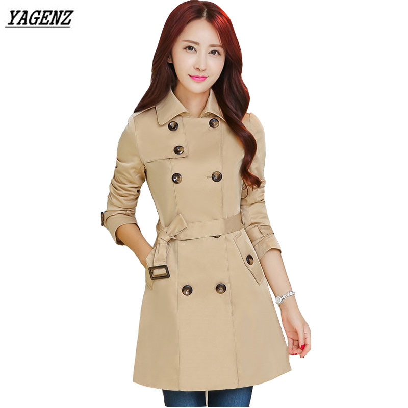 Double Breasted Medium-long   Trench   Coat Women 2017 New Fashion Belt Cloak Polerones Mujer Windbreaker Female High Quality YAGENZ