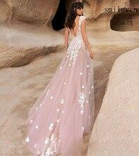 Smileven Pink Princess Wedding Dress Backless Fairy Boho Lace Bride Dresses Floor Length Short Sleeves Wedding Gowns smileven a line lace wedding dress boho lace bride dresses o neckline floor length wedding gowns custom made