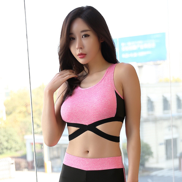 53bda2f984a93 2019 New Pink Blue Gray Sexy Bandage Yoga Gym Crop Top Women Sport Bra Top  Fitness Women Push Up Fitness Tank Top Sport Bra Tops