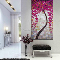 Handpainted Abstract Pink Tree Boolm Flower Oil Painting Palette Knife Thick Textured Art On Canvas For
