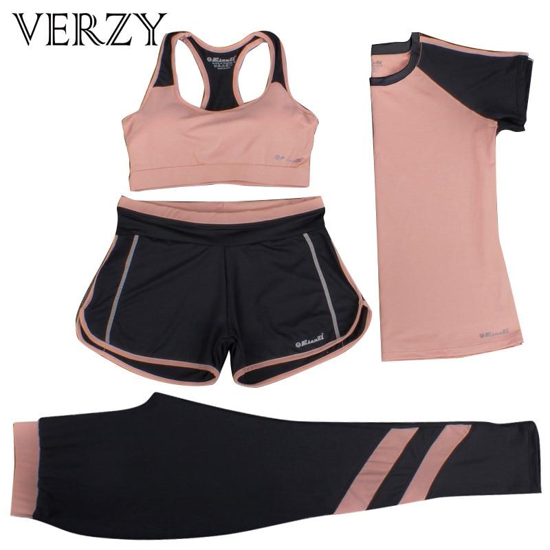 font b Women b font Yoga Set Four Pieces Bra T shirt font b Shorts