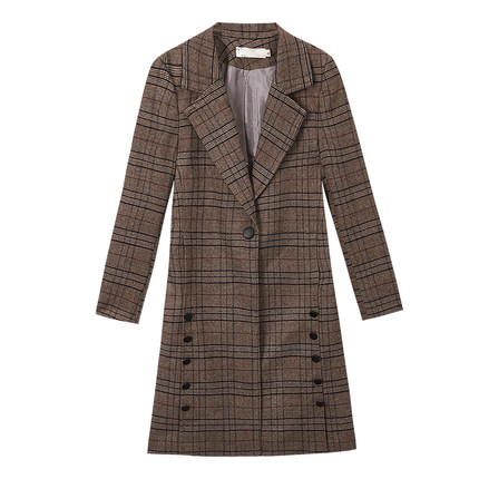 Automne La De Qualité Longue Printemps Manteau Col Manteaux Nouvelle Femmes Haute Mode Version Tb180 Coréenne Plaid Et gris Marron Tailleur Section wq4F8XqB