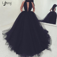 Black Tulle Halter Backless Prom Ball Gowns Dresses Long Custom Made Sexy Womens Maxi Gown Celebrity Party Chic Simple Dress