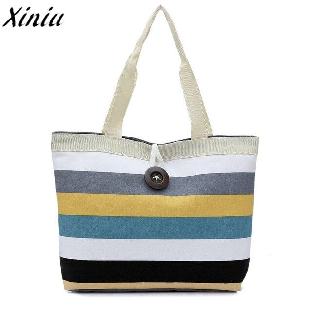 e4005d56f Chica Casual Canvas Shopper bolsa De Hombro rayas Playa Grande Casual Tote  bolso Carteras Mujer De