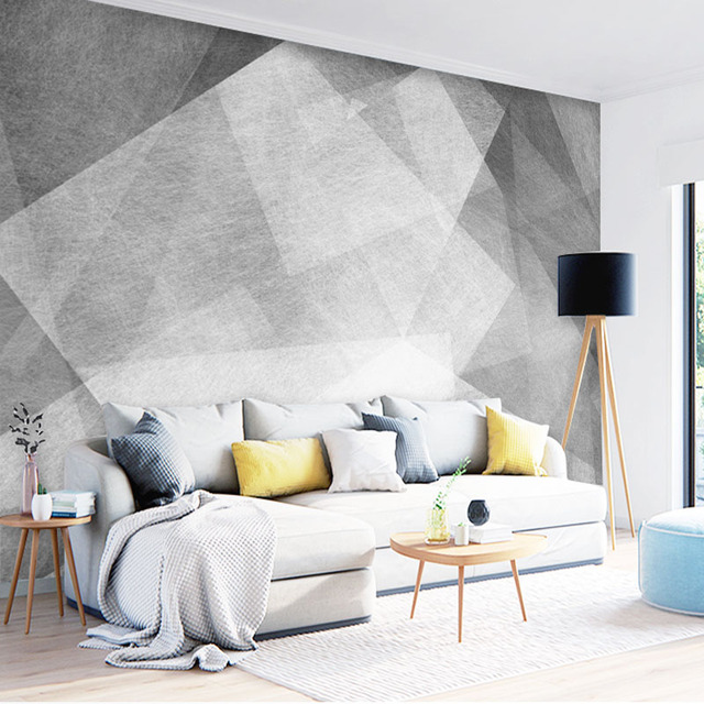 meeting office grey living wall geometric decoration wallpapers abstrac mural zoom tuya discount mouse