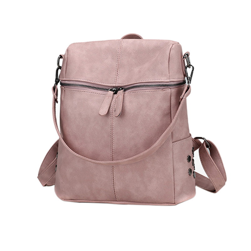 PU Leather Zipper Top Shoulder Bag Backpack