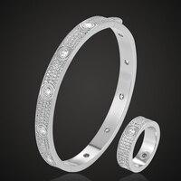Zlxgirl jewelry luxury brand Europe full Cubic Zircon Cooper Bangle&ring Jewelry Sets Women Love Bangles And ring Jewellery sets