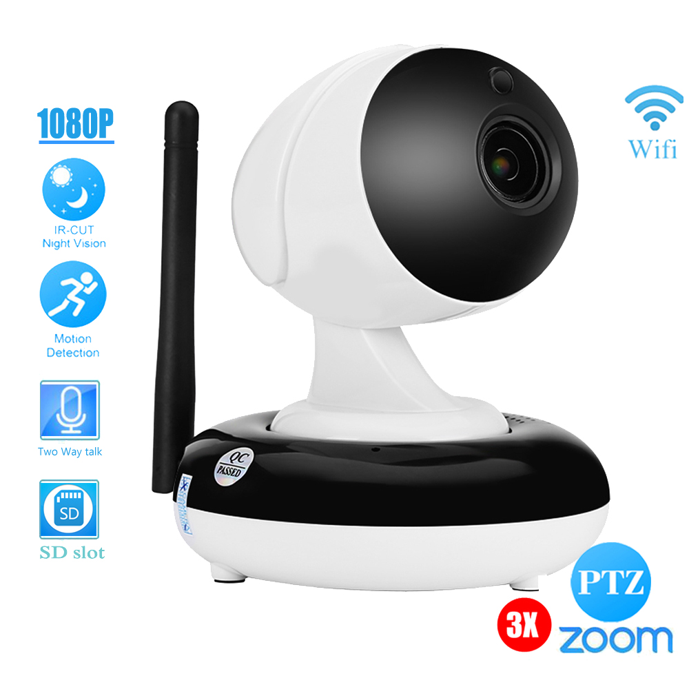 Indoor/ HD 960P 1080p Wireless Home Dome PTZ IP Camera Wifi 3X Auto Zoom 2MP Audio Microphone IR-Cut Baby Monitor SD Card Onvif
