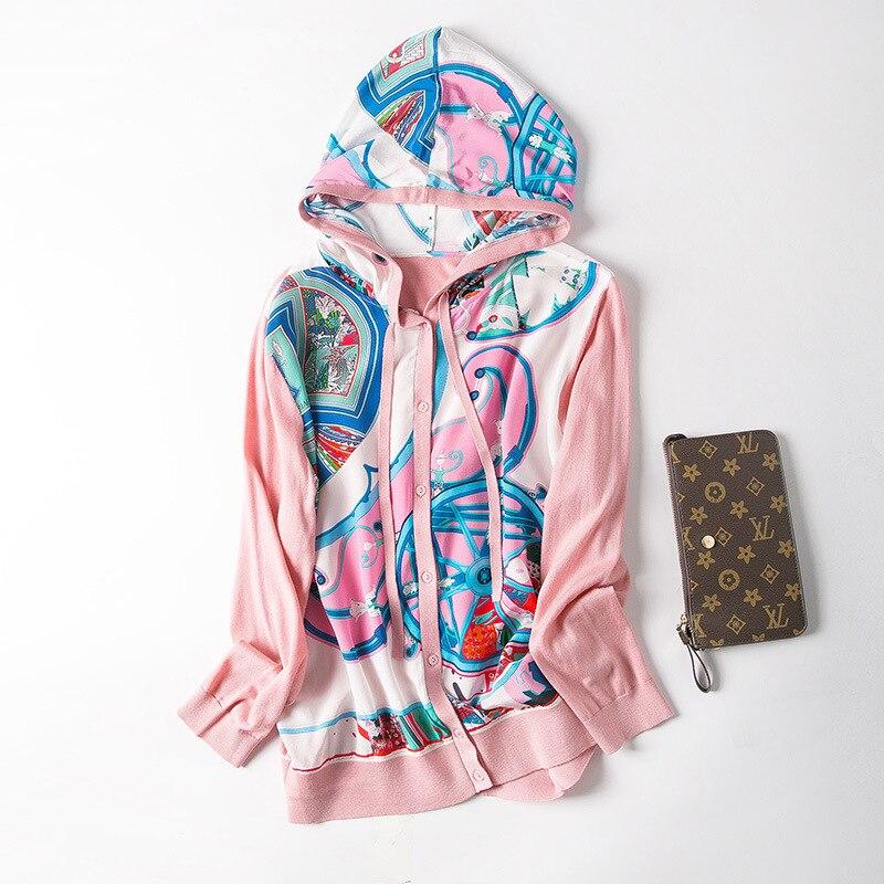 Nuevo cárdigan de seda impresa con capucha tejido aire acondicionado previene el bask en la ropa - 2