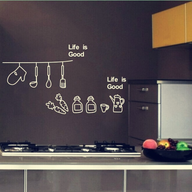 DIY home decor creative simple and stylish kitchen art wall stickers kitchen wall stickers free shipping