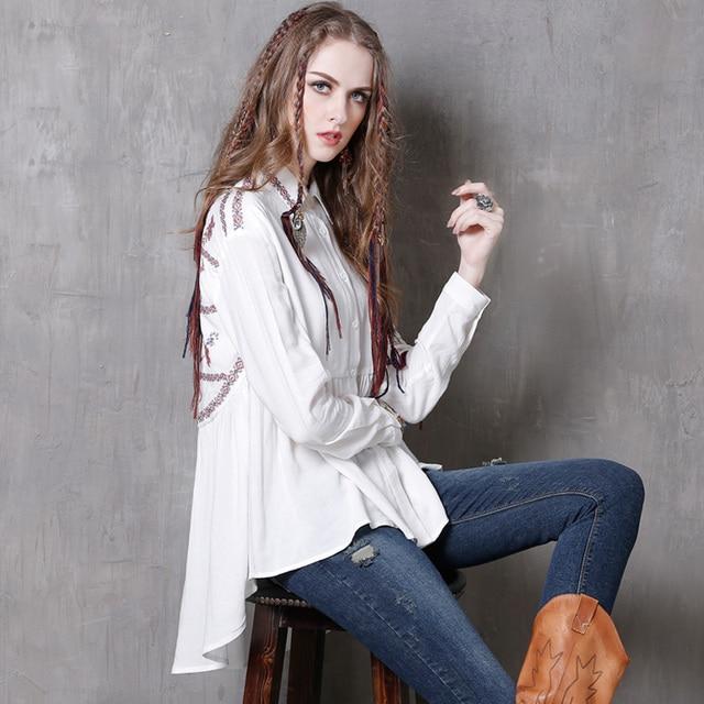 2017 New Long Sleeve Blouses Embroidery Cotton Linen Shirts Women Summer Women Tops Tees Boho Sheer Irregular Blusas Femininas
