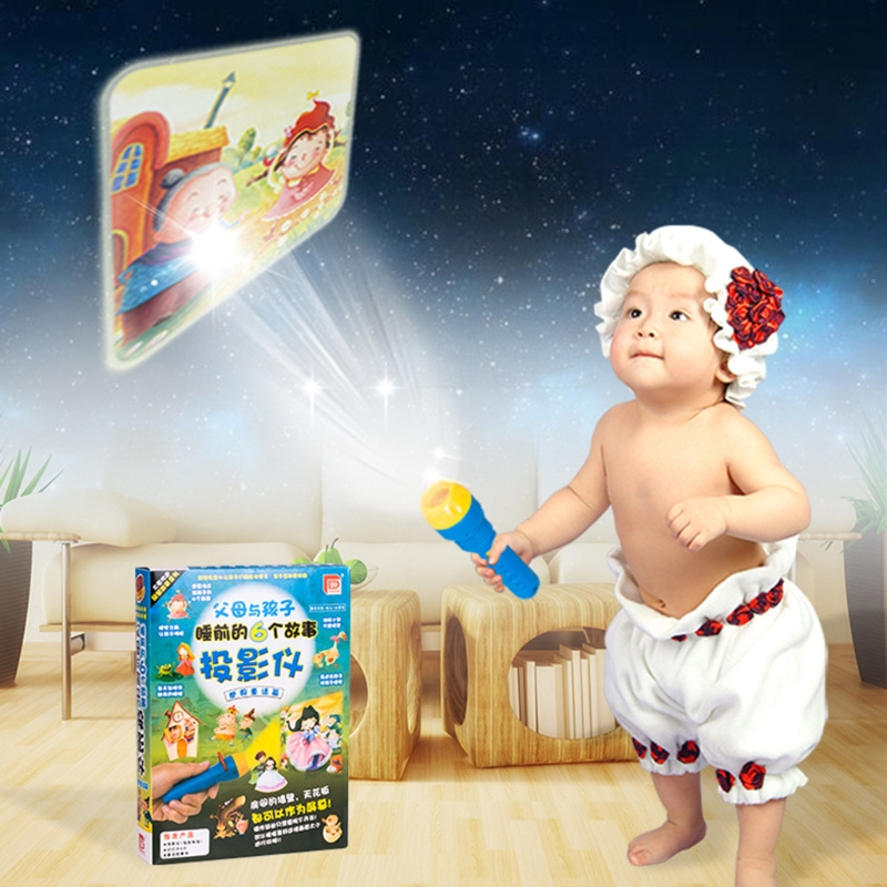 Children Like Fairy Tales Sleeping Story Light Projector Flashlight Toys Kids Educational Toy In