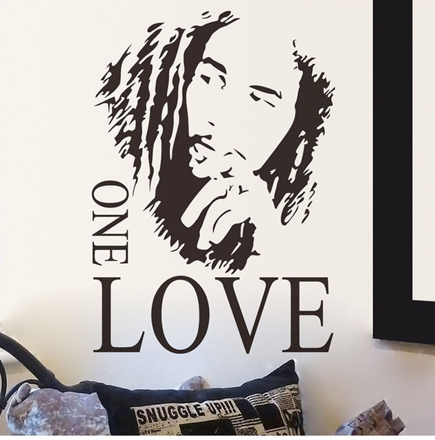 9b80ceb7416f BOB MARLEY silhouette portrait ONE LOVE Musician Singer quote vinyl Wall  sticker adhesive Decal Mural Decor house decoration