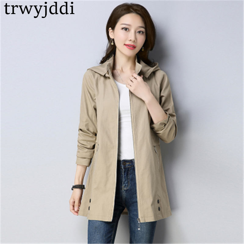 Fashion Large Size Casual Windbreaker Women's Long Coat Korean 2019 Spring Autumn Hooded Loose   Trench   Coat N391