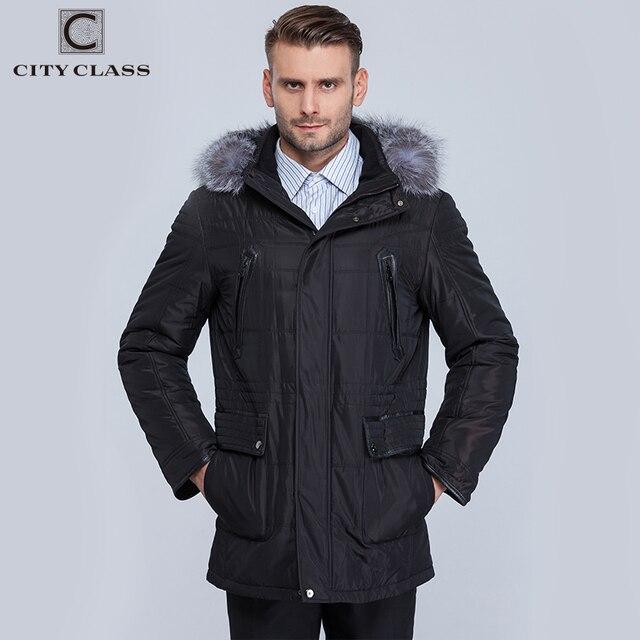 City Class зима теплые Куртки Мужские Silver Fox съемный капюшон съемная стеганая подкладка моды casaco masculino Мужские парки с натуальным мехом 363-14