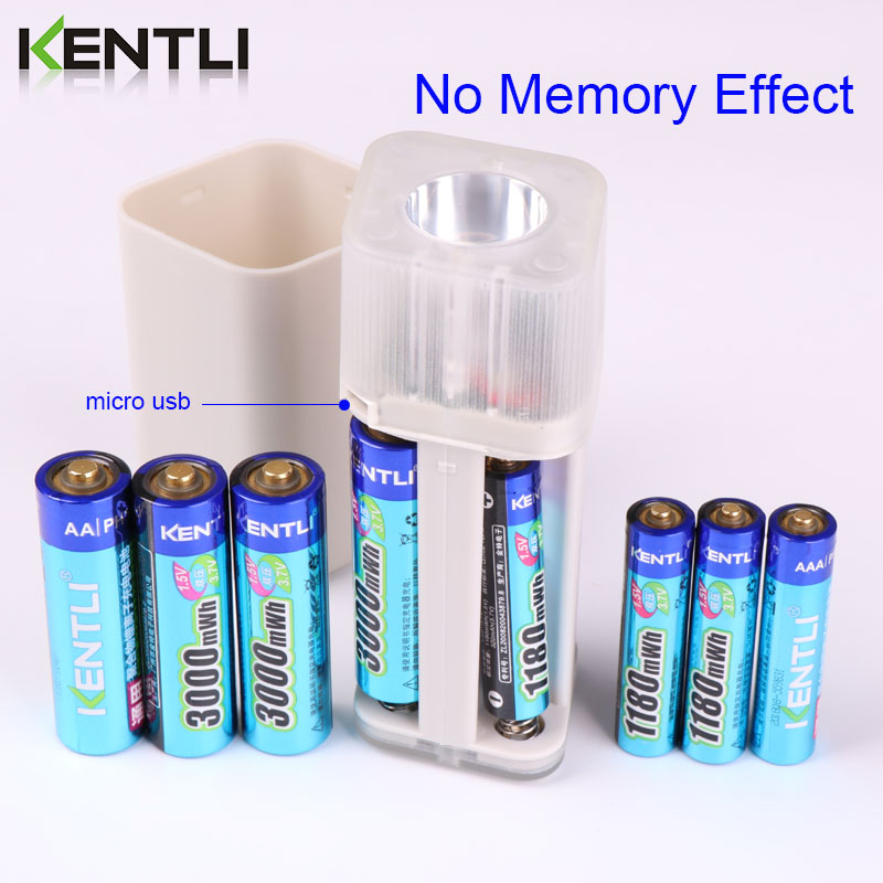 KENTLI 8 шт. 1,5 в батарейки AA AAA литий ионная литий полимерная литиевая батарея + 4 слота AA AAA литиевая батарея Li ion смарт зарядное устройство - 4