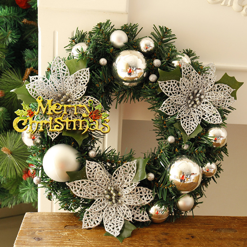 Christmas Wreath Pine Needles Band Merry Christmas Garland Balls With Flowers Door Wall Hangings Nice Gift Xmas Wreath 30cm