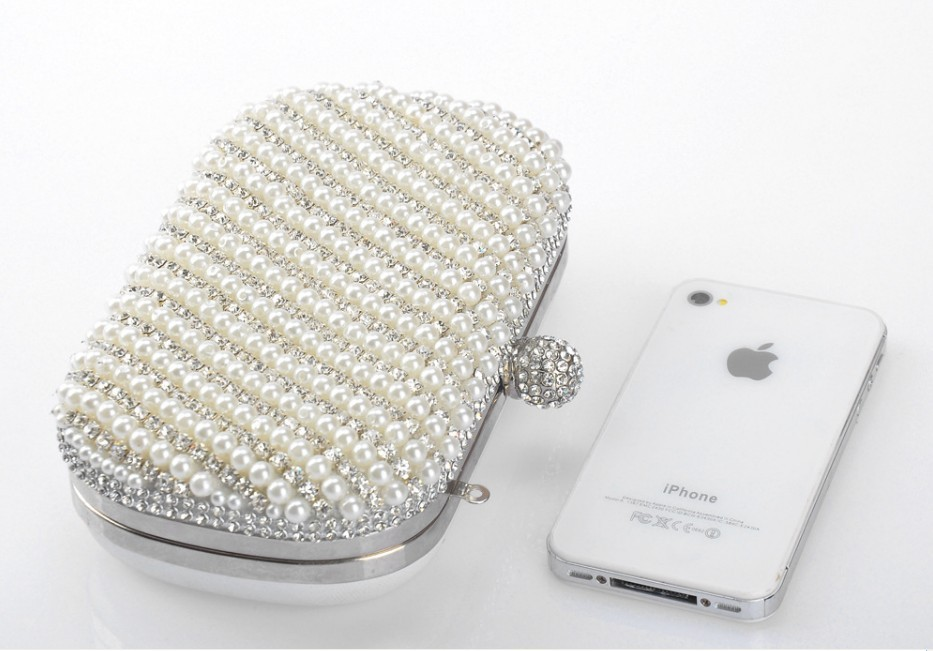 64e391b0f94 New Arrival White Clutch Handbag Crystal Evening Bags Handmade Pearl  Diamond Handbags Party Bag Rhinestone Purse Free Shipping-in Clutches from  Luggage ...