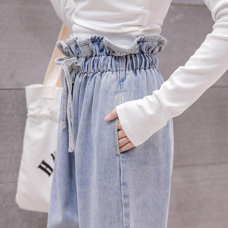 Haute Chaude 2018 Pantalon Denim Femmes Droite Poches Plat Occasionnel Automne B89241ld Mode Taille 5xl Plus Blue Lâche Nouvelle Solide Cordon De qqfAOU