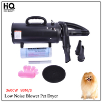 Pet Hair Dryer Blower for Cat/Dog Low Noise High Power Motor Double Engine Pet Dryer Grooming Dog 220V 3600W 80m/s Wind speed
