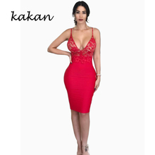 Kakan summer hot sexy women dress sleeveless lace wrapped chest strap white red black