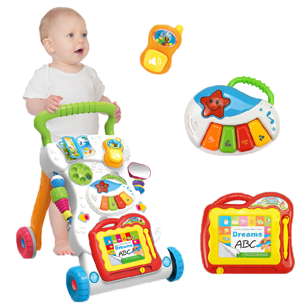 Multifunction Baby Ride on car trolleys with Musical instrument light Drawing board Toys Learn to Newborns Growing up Walk Carts growing up